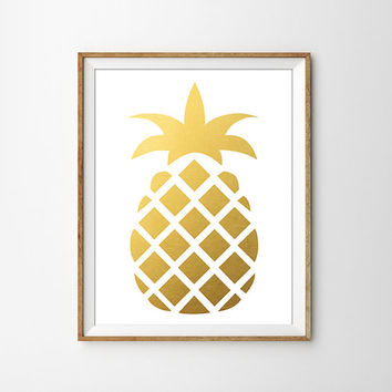 Gold Foil Pineapple Print. Modern Kitchen Art Print. Minimalist Home Decor. Modern Home Decor. Chic Poster. Faux Gold Foil.