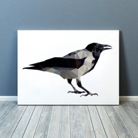 Bird poster Raven art Geometric print Wall decor TOA93