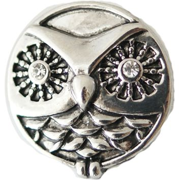 Snap Charm Metal Owl 20 mm