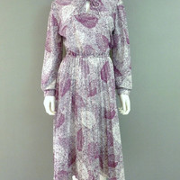 Vintage Floral Purple and White Dress S-M 1980s FJ Dotted Design Elastic Waist Keyhole Collar