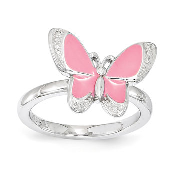 Sterling Silver Stackable Expressions Pink Enamel Butterfly Ring