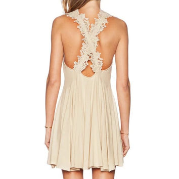 Beige Crochet Lace Criss Cross Back Vest Dress