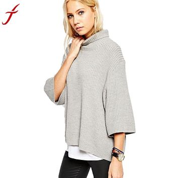 Women's Autumn And Winter Turtleneck Roll High Neck Pullovers Loose Sweater Women's Jackets