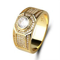 Super shiny AAA CZ Micro Pave Rhinestone Iced Out Bling Square Ring IP Gold Filled Copper Rings for Men Jewelry for friend gift