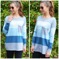 SZ LARGE On The Horizon Baby Blue Stripe Pocket Sweater