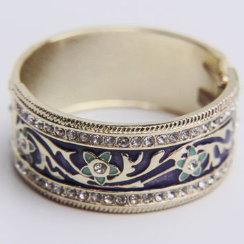 Vintage Ethnic Enamel Flower Bangle Bracelet