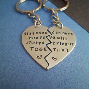 Long Distance Relationship Quote - Couples Key Chain - Hand Stamped