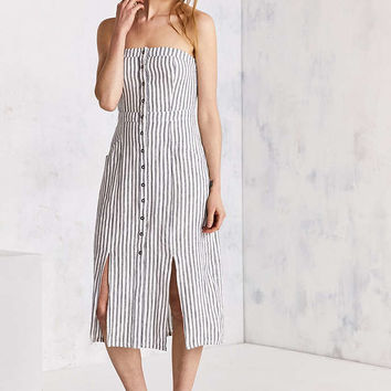 Cooperative Tiffany Strapless Button-Down Midi Dress - Urban Outfitters