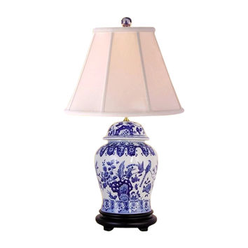 Beautiful Blue and White Porcelain Temple Jar Table Lamp Chinoiserie Bird 29""