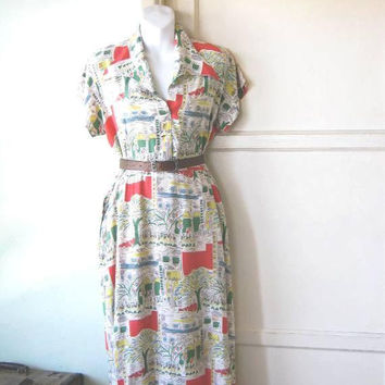 Rare 1950s Scenic Print Shirtdress; Shortsleeve Women's Medium Red/Off-White/Blue/Green City Print Cotton Dress; Flawed, for Casual Wear