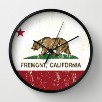 Fremont California Republic Flag Distressed Wall Clock by NorCal