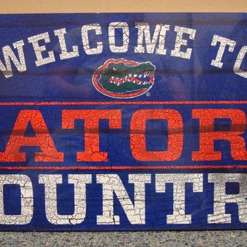 "FLORIDA GATORS WELCOME TO GATORS COUNTRY WOOD SIGN 13""X24'' NEW WINCRAFT"