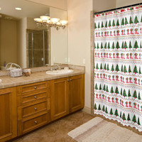 "Felices Pascuas Collection Christmas Fabric Shower Curtain (70"" x 72"") with Matching Santa Hooks - Christmas Time"