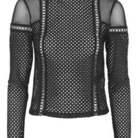 Lattice Mesh Top - Black