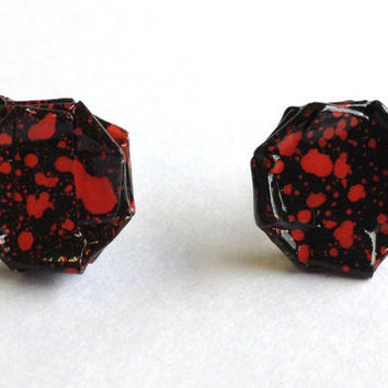 Bloody Valentine - Red Splatter Paper Mache Graffiti Stud Earrings