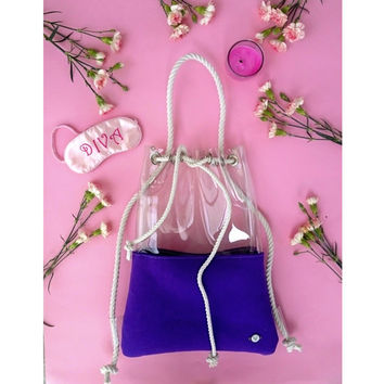 Wool felt Bucket Bag, Crossbody Bag, Everyday Bag, Bucket bag, shoulder bag, backpack bucket bag,felt drawstring bag, clear backpack, violet