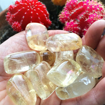 YELLOW CALCITE Crystals (Grade A Natural) Tumbled Polished Stone Gemstone Rocks for Healing, Yoga Meditation, Reiki, Wicca, Jewelry Supplies