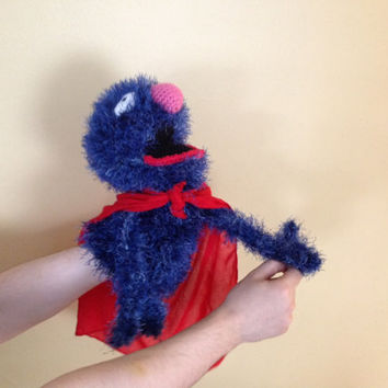 Crochet Super Grover hand puppet PATTERN, sesame street monster in tutorial PDF file.