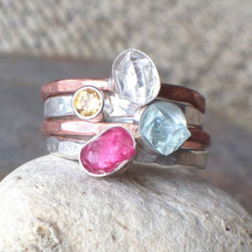 MIxed Metal Raw Stone Stacking Rings - aquamarine, ruby, herkimer diamond, citrine - US Size 8