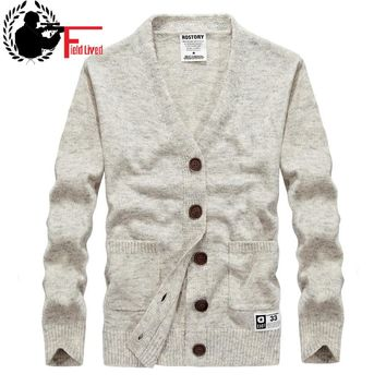 2017 Men's Sweater Brand Winter Fashion Knitted V-neck Button Male Casual Cotton Wool Fabric Cardigan Stylish Street Style Grey
