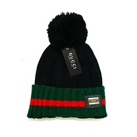GUCCI Women Men Embroidery Beanies Knit Hat Warm Woolen Hat Black