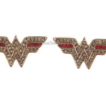 Licensed cool NEW DC  WONDER WOMAN BLING LOGO WINGS JEWELS Costume Stud Earrings Jewelry