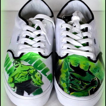 Mens Shoes, Mens Painted Vans/Converse/Generic Shoes, Vans, Converse, Hulk, Incredible Hulk, Fan Art, Mens Custom Fashion