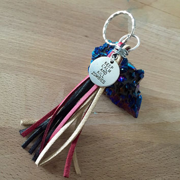 Keychain Bright Colored Suede Tassel with keep calm and kill zombies TWD charm (The Walking Dead)
