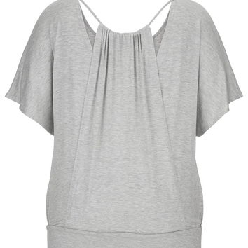 lightweight plus size poncho top with adjustable back panel