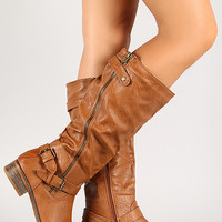 Distressed Leatherette Asymmetrical Zipper Boot