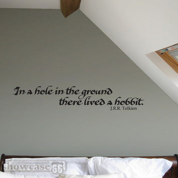 In a hole in the ground there lived a hobbit. - Vinyl Wall Art - FREE Shipping - Tolkien Inspired wall Decal