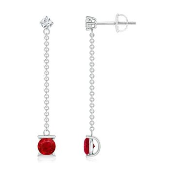 Ruby and Diamond by the Yard Chain Drop Earrings