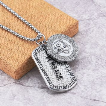 Silver VERSACE Pendant Necklace Womens Jewelry