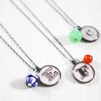 Bridesmaid Gift - Monogram Necklace - custom letter upcycled paper ephemera resin charm on delicate sterling silver chain - wedding jewelry