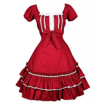 Partiss Women Short Sleeves knee-Length Multi Layers Red Lolita Dress