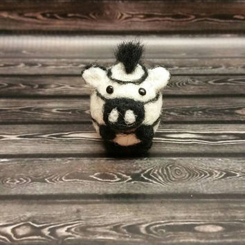 Popcorn Zebra - Needle Felting Sculpture - Felted Zebra - Soft Animal - Handmade Art