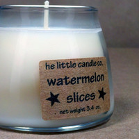 Soy Jar Candle Watermelon Slices Scented Dye Free by littlecandles