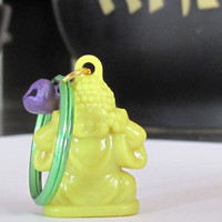 Yellow Buddha Keychain, Buddhist Keychain, Yoga Keychain, Yoga Gift, Gifts Under 10, Bodhi Day