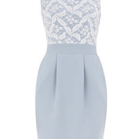 Pale blue lace front dress - Shift Dresses - Dresses - Dorothy Perkins