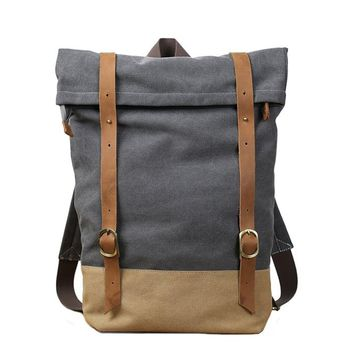 BLUESEBE UNISEX WAXED CANVAS WITH LEATHER STRAP BACKPACK 14129