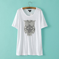 White Embroidered Owl T-Shirt