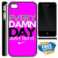 New Hot NIKE T SHIRT EVERY DAMN DAY JUST DO IT Pink New Apple IPHONE 4 4S 5 HARD CASE Covers Elegant