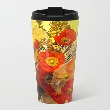 Poppy Expressions Metal Travel Mug by Theresa Campbell D'August Art