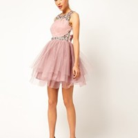 ASOS PETITE Exclusive Dress With Tutu Skirt And Embellishment at asos.com