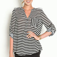 Striped Henley Blouse - LoveCulture