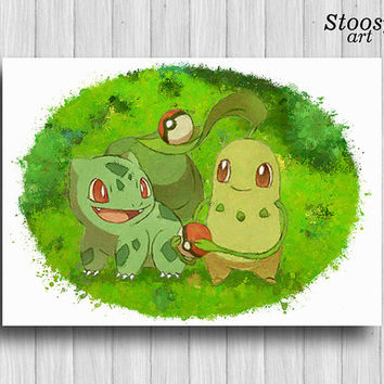 Bulbasaur and Chikorita poster pokemon watercolor pokeball