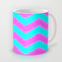 Mint and Pink chevron Mug by  Alexia Miles photography