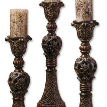 3 Candle Holders - Antiqued Pillar Candles Included