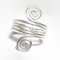 Sterling Silver Knuckle Ring, Sterling Silver Stacking Ring, Swirl Ring, Sterling Silver Midi Ring, Sterling Silver Mid Ring