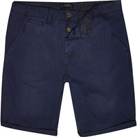 River Island MensNavy blue chino slim shorts